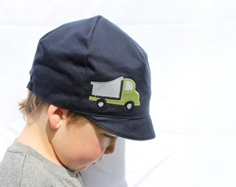 Boys Truck Hat,  Kids Reversible Hat, Wee Dee Hat, Boys Spring Hat, Baby Toddler or Child, Green Plaid , XXS S M