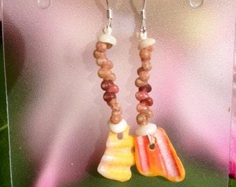 Sunrise Shell Chip Puka Shell Earrings Pink Kauai Kahelelani Shells-- Mermaids Style Jewelry Island Rare Hawaiian Shell Earrings