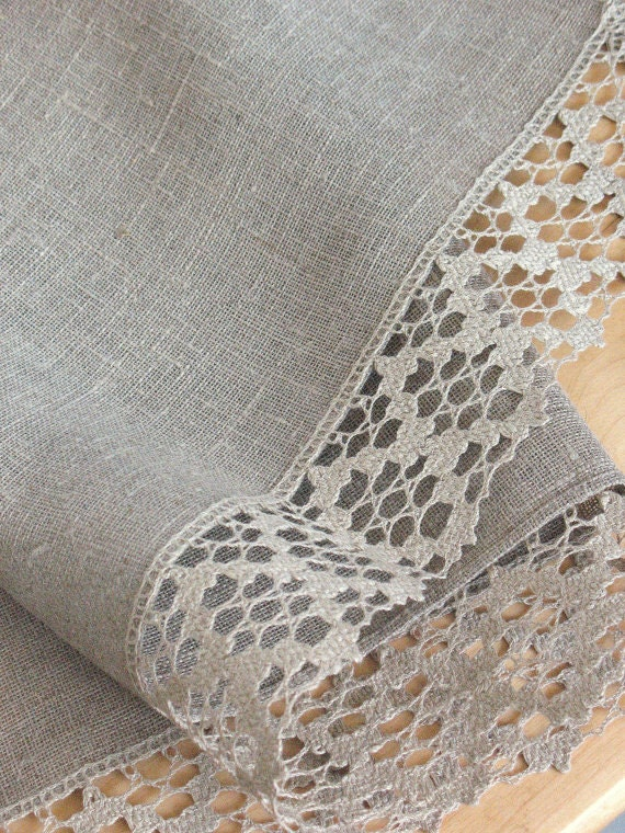 "Linen Tablecloth Burlap Checked Square Prewashed Natural Gray Linen Lace 60"" x 60"""