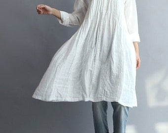 Women Cotton Long Shirt white gown