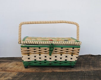 Vintage Woven Sewing Basket Natural with Green