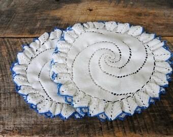 Vintage Round Doily Set of Two White with Blue Edge