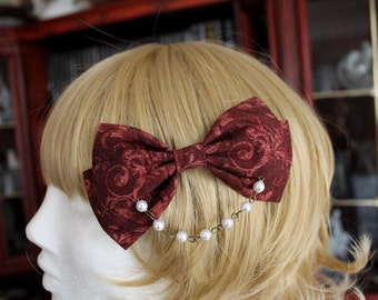 Blood Red Swirly Bow Hair Clip with Pearl Chain
