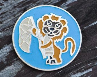 "Vintage Soviet Russian aluminum badge,pin.""Soviet cartoon badge"""