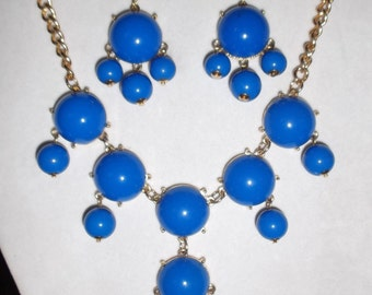 SALE Beautiful Bright Blue Bubble Gold Necklace and Earrings High Fashion, Modern, Fun, Light Playful great for the Winter Months