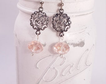 Silver tone rose flower pink glass dangle earring