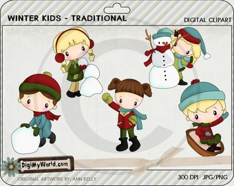 Winter Kids traditional for the season snow snowman toboggan Clipart and graphics