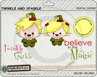 Chibi Elf boy and girl, Winter, Christmas, adorable Clipart and graphics