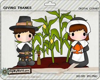 Giving Thanks Fall Thanksgiving pilgrim corn maze haystack clipart images for scrapbooking and card making