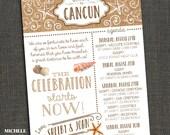 WEDDING WELCOME Letter & Agenda - Beach burlap casual - PRINTABLE