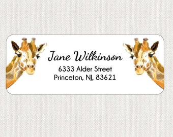 Giraffe Return Address Labels - Woodland Rustic - In Love - Sweet Home - Self-Adhesive