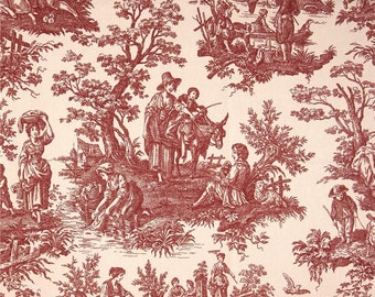 "Two  96"" x 50""  Custom  Curtain Panels - Waverly Toile Country - Garnet Red"