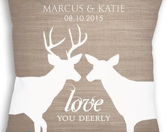 Rustic Woodland Wedding Love - Custom Deer Pillow - Woodland Wedding Gift - Personalized Wedding Gift - Bridal Shower Gift - Custom Color