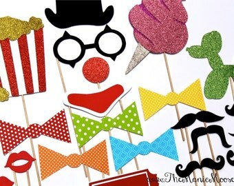 The DELUXE CARNIVAL Collection - 24 piece set - mustaches on a stick, lips, clown, circus GLITTER - Photobooth Props
