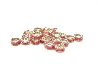 40 Silver Plated, 6mm Pink, Crystal, Straight, Smooth Edge, Rondelles