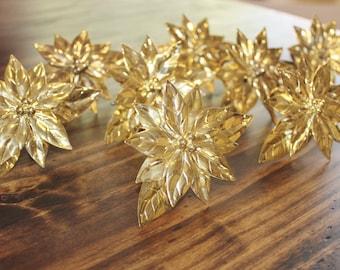 Bright Brass Poinsettia Napkin Rings 8