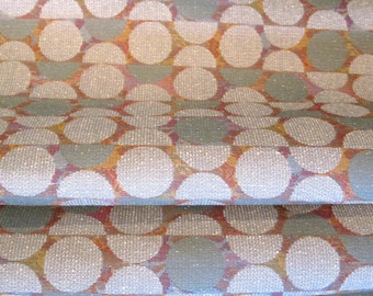 Retro Modern Nubby Textured Upholstery Fabric Remnant - Muted Smokey Teal / Gray / Wine Circles.