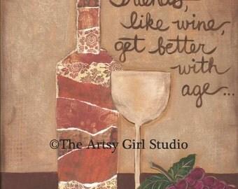 Friends & Wine 8x8 Mixed Media Art Print
