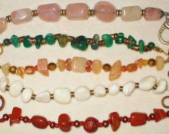 5 Chunky Genuine Gemstone Bracelets