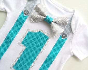 Boys First Birthday Party Silver & Aqua Bow Tie and Suspenders Onesie All In One One Piece Bodysuit