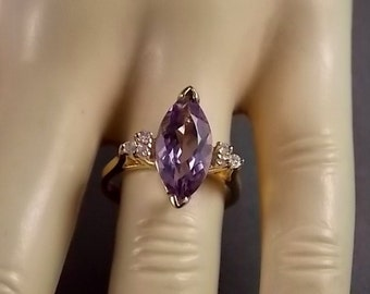 Amethyst and Diamond Ring 2.37Ctw Yellow Gold 14K 3.4gm Size 6.25 February Birthstone