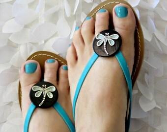 Dragonfly Flip Flop Wrap Clips Flexible Removable Versatile Shoe Clips, Slippahs, Sandals, Scarves, Boots, Pendant