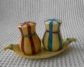West German Pottery Salt and Pepper Set Striped W.Goebel
