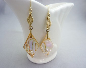Vintage Mother Of Pearl Gold Gilt Sterling Long Earrings