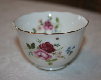 Vintage Adderley Fine Bone China England Small Bowl White Gold Trim Flowers Pink Green Hand Painted Fine China Shabby Cottage Chic