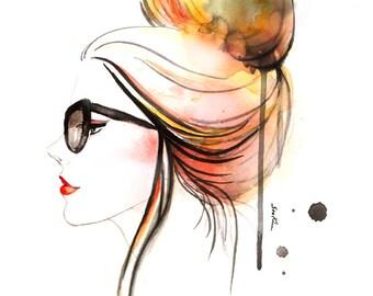 Fashion illustration art print - Girl's Profile in Eye Glasses, Updo Hair High Bun