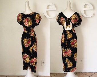 Sexy Grunge RAYON Vintage 90s 80s does 40s Dress Sarong Front Tie Back Edwardian Victorian Black Dark Floral Garden Party 40s drapery print