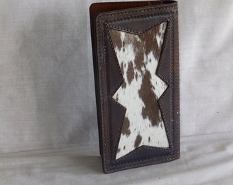 "Handmade Roper Wallet /  Checkbook Cover     "" Hair on Calf skin In-lay """