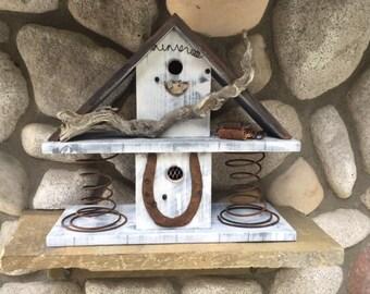 Rustic Primitive Birdhouse, Large Bird House Post Mount Functional Bird's Nest Box, Outdoor Garden Decoration, Item 233322425
