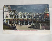 Antique Postcard Coney Island Luna Park Restaurant Boxes By Night Glitter New York Unused