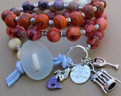 Sea Glass and Acai Berry Seeds Bracelets - mermaid, wine glass and opener charms