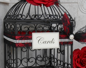 Red and Black Wedding Birdcage Card Holder / Wedding Card Box / Wedding Card Holder / Goth / Gothic / Victorian