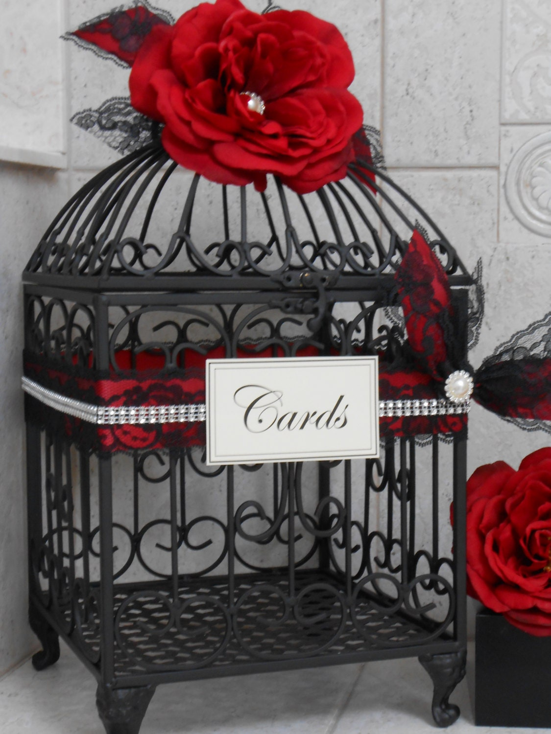 Red And Black Wedding Birdcage Card Holder Wedding Card Box