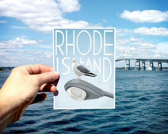 Art Postcard, Rhode Island Postcard, Animal Postcard, Nautical Card, Coastal Art