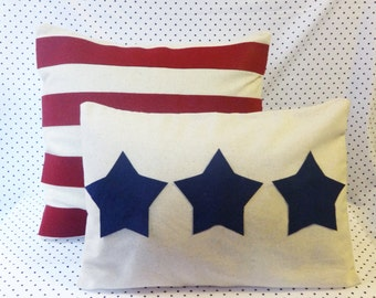 Fourth of July Pillow Cover Set July 4th Pillows Stars and Stripes Rustic Patriotic Decor Rustic Nautical Decor Rustic July Fourth American