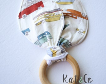 Organic bunny ear teether ring toy with crinkle material.  Ready to ship.