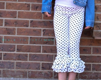 Sale! Ready to ship black dot triple ruffle capris