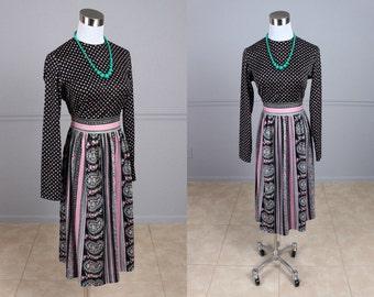 Reserved Vintage 70s Secretary Dress, Pink, Green, Black & White, Diamond, Paisley Print, Day Dress, Toni Todd, M, 28.5 Waist