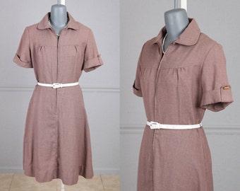 """Vintage 60s Shirtwwaist Dress, Mauve, Brown, Cotton Short Sleeves, A line Skirt, Day Dress, M, L, 31.5"""" Waist"""