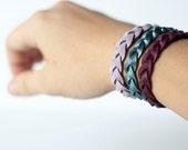 Braided Leather Bracelet Trio / Summer Berries
