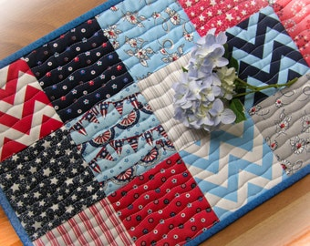 Reversible Quilted Table Runner - Patriotic, Red, White and Blue Table Topper, Centerpiece