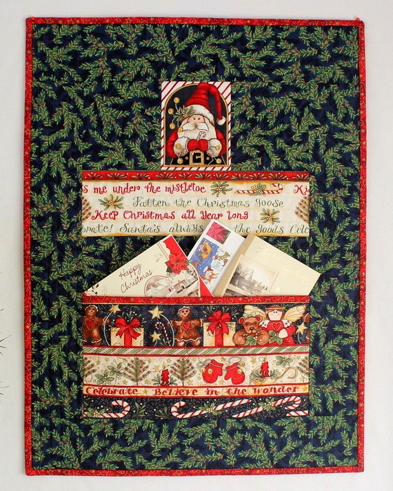 Christmas card holder letter organizer quilted by for Christmas card holder wall hanging