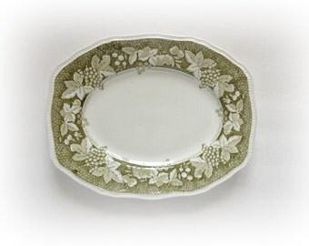 Vintage Kensington Staffordshire Somerset Green Oval Serving Platter