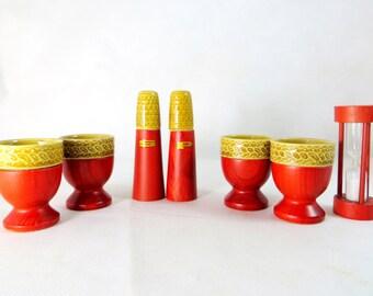 Retro Breakfast Set, Ceramic and Wood 7pce Salt & Pepper Cruet, Egg-timer + 4 Eggcups 1950s Boxed