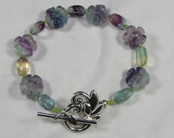 Quartz Crystal Toggle Flower Bracelet With Purple Green Quartz Flowers Fluorite