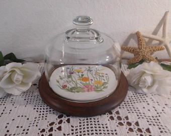 Vintage Cheese Serving Tray Glass Dome Cover Round Wood Floral Tile Country Cottage Retro Farmhouse Garden Wine Party Entertaining Gift Her